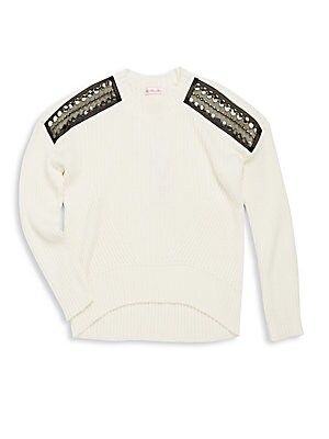 Girl's Cropped Hi-Lo Sweater