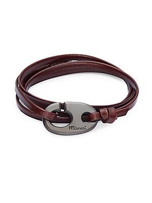Anchor Alligator Leather Bracelet