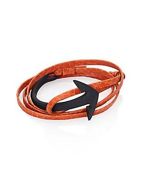 Anchor Leather Bracelet