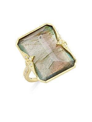 Click here for Krista Labradorite  Diamond & 14K Yellow Gold Ring prices