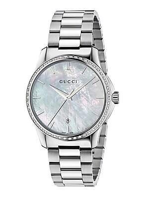 gucci gtimeless diamond motherofpearl stainless steel bracelet watch