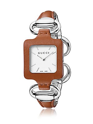 Stainless Steel & Leather Bangle Watch