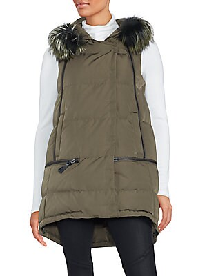 Dyed Fox Fur Hooded Puffer Jacket