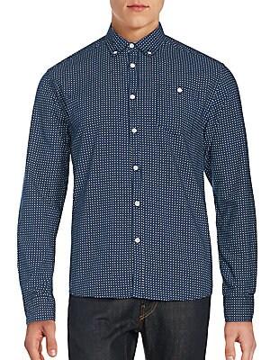 Dot Print Button-Down Shirt