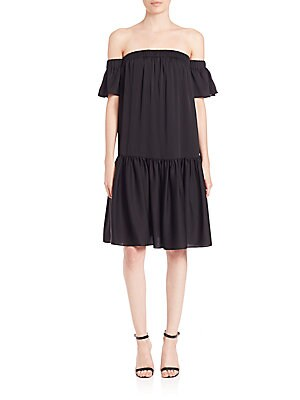 Shirred Off-The-Shoulder Dress