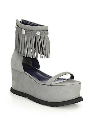 Fringed Suede Platform Sandals