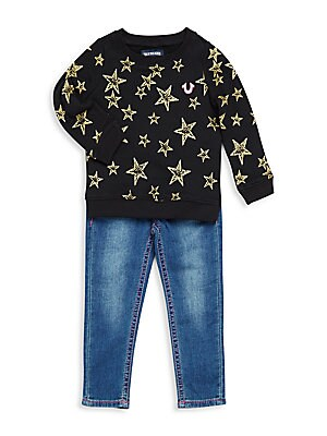 Baby's Star Printed Cotton Sweater and Jean Set