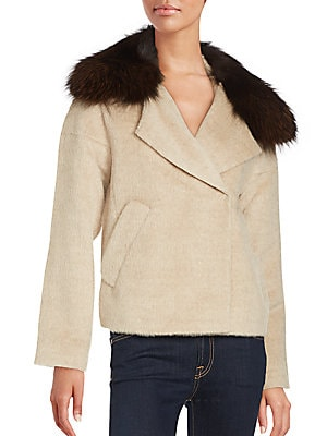 Cropped Fox Fur-Trimmed Peacoat