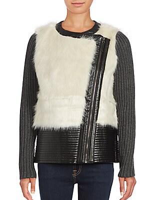 Saks Fifth Avenue Faux Fur Leather Jacket | Coat, Jacket and Clothing