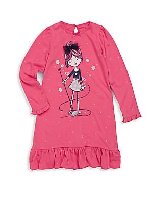 Little Girl's Printed Ruffled Dress