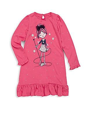 Girl's Printed Ruffled Dress