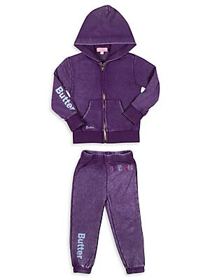 Little Girl's Two-Piece Embellished Hoodie & Sweatpants Set