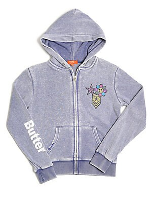 Little Girl's & Girl's Embellished Burnout Hoodie