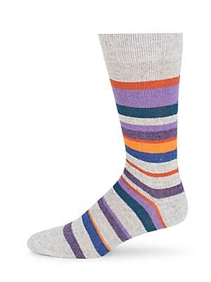 Striped Cashmere-Blend Mid-Calf Socks