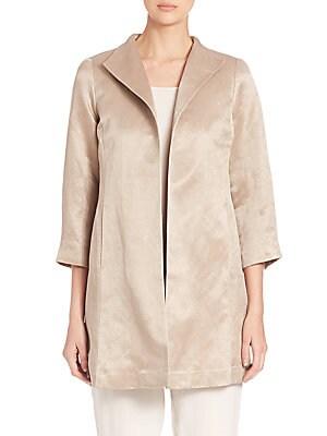 Organic Linen & Silk High-Collar Coat