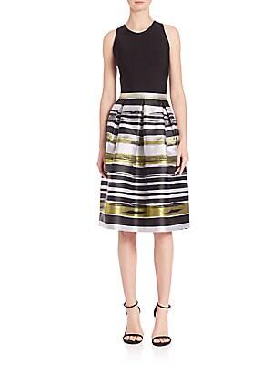 Box Pleated A-Line Striped Dress