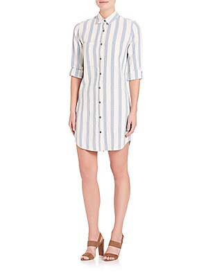 Striped Buttondown Shirt Dress