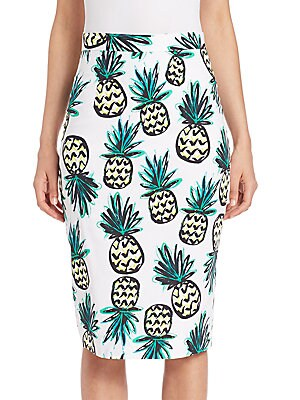 Pineapple Print Pencil Skirt
