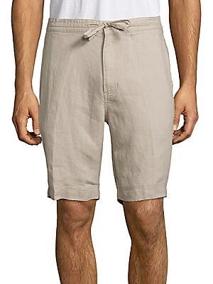 Solid Linen Drawstring Bermuda Shorts