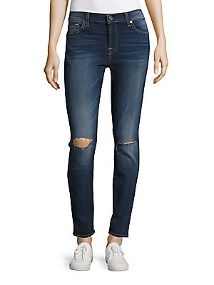 Whiskered Ankle Length Jeans