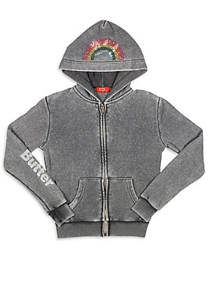Girl's Butterfly Applique Hoodie