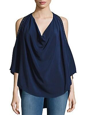V-Neck Cold Shoulder Silk Top