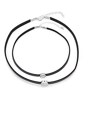 Cubic Zirconia & Leather Double Round Choker Necklace
