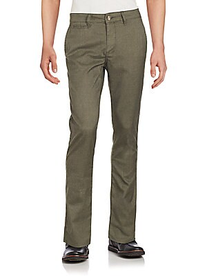Flat-Front Cotton-Blend Tapered Pants