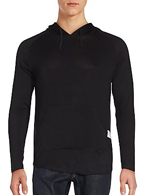 Solid Cotton Blend Hoodie