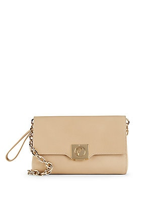 Leather & Goldtone Chain Handbag