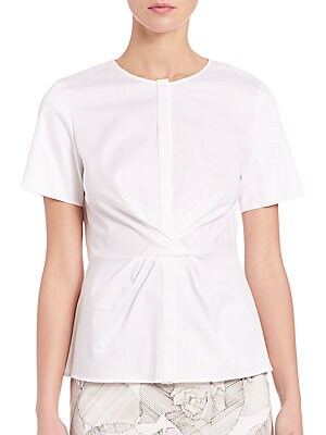 Cotton Poplin Twist-Front Blouse