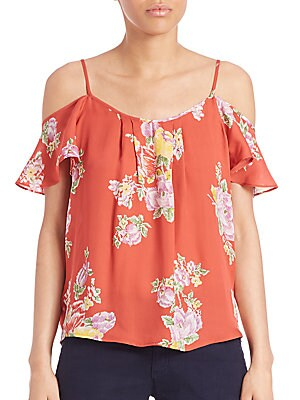 Adorlee Silk Cold-Shoulder Top