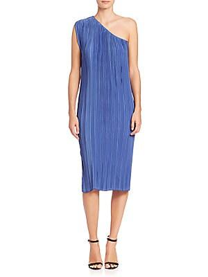 Pleated Satin One-Shoulder Dress