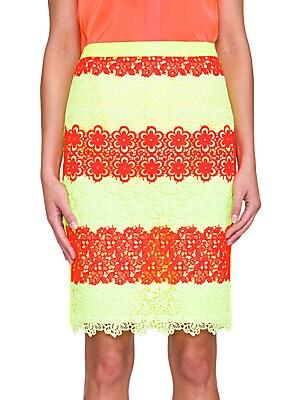 Lace-Stripe Pencil Skirt