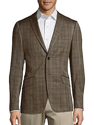 Silk-Blend Plaid Jacket