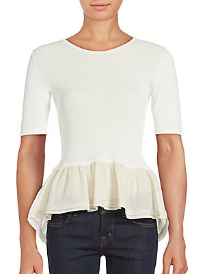 Ruffled Hem Silk-Blend Top