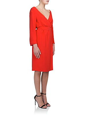 Long-Sleeve Cady Wrap Dress