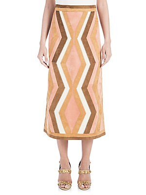 Suede Chevron Midi Skirt