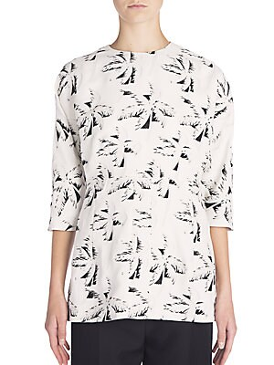 Palm Tree-Print Top