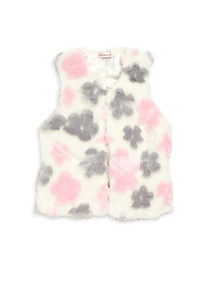 Toddler's & Little Girl's Floral-Print Faux Fur Vest