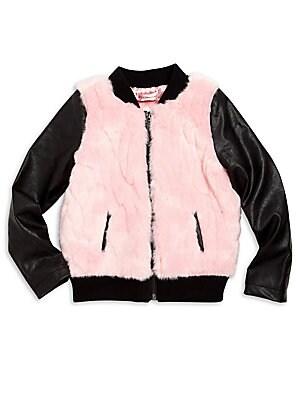Toddler's & Little Girl's Faux Fur Bomber Jacket