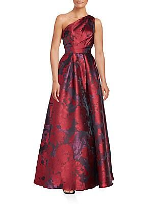 One-Shoulder Floral Print Gown