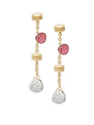 18K Gold Hand Engraved Dangle Earrings