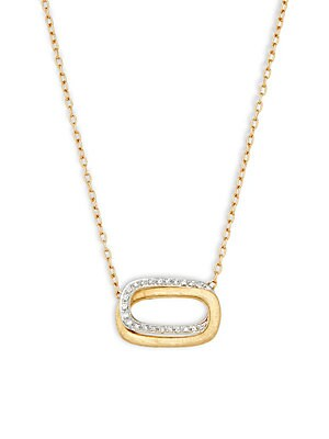 18K Gold & Diamond Hand Egraved Necklace