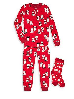 Kid's Dog Printed Top, Pants & Socks Set