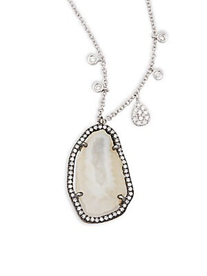 Click here for 14K White Gold Geode & Diamond Pendant Necklace prices