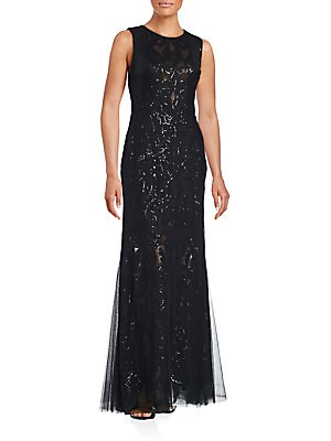 Sequined-Overlay Trumpet Gown