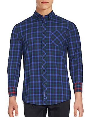 Cotton Plaid Button-Down Shirt