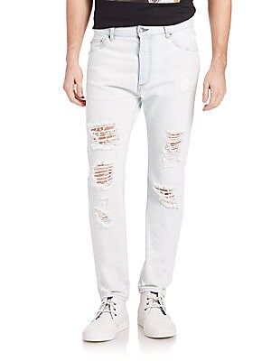 Washed & Ripped Denim Jeans