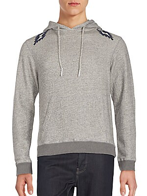 Heathered Cotton Printed Hoodie Pullover